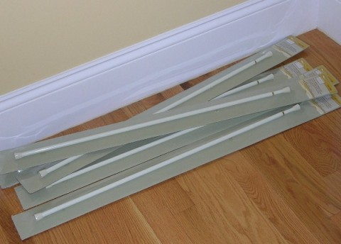Pile of curtain rods